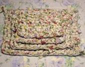 Rag Rug Placemats Hot Pads Trivets 4-Piece Shabby Chic Boho Ragrug Kitchen Dining White Cream Pink Blue Green