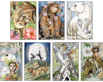 Tarot Portfolio, Set of 7 large prints from The Stolen Child Limited Edition Major Arcana Deck,
