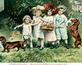 Instant Download DACHSHUNDS Doxies on Parade Victorian Children French postcard Digital Scan