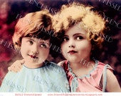 Instant Download Art Deco Girls BEST FRIENDS Hand painted French postcard DIGITAL scan