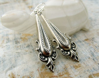 Silver dangle earrings neoclassical office jewelry gift for her