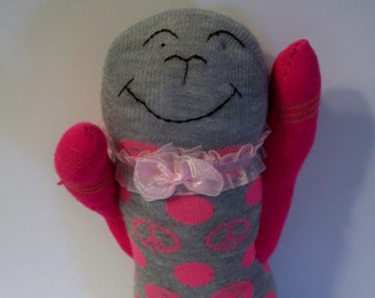 Pink Cat Sock Animal Handmade in USA from  New Socks with Pink Peace Signs, Smiley Faces, & Pink Ribbon Collar