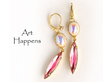 """Vintage Pink Rose White AB Glass Dangle Earrings with Navettes, """"Rosy Cheeks"""""""