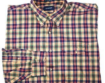 Vintage Gant Southport Poplin Plaid Button Down Shirt Mens Size XL