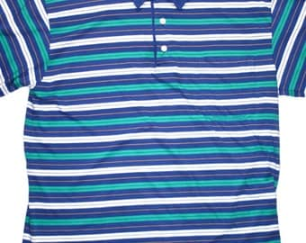 Vintage 90s Striped Polo Shirt Mens Size Large
