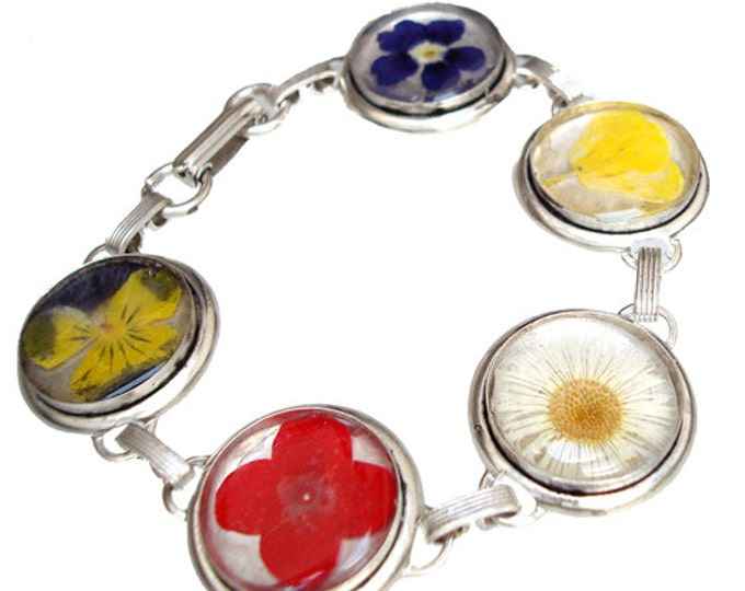 Stainless Steel bracelet with real pressed flowers