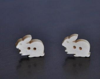 12pc Zakka Bunny Wooden Buttons