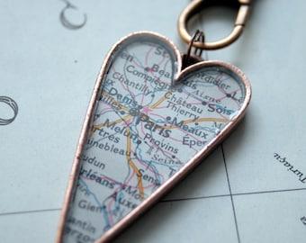 Hometown Map Pendant in Large Heart Shaped Pendant HandMade