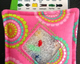 I Spy Bag - Mini with SEWN Word List and Detachable PICTURE LIST- Scalloped Flowers
