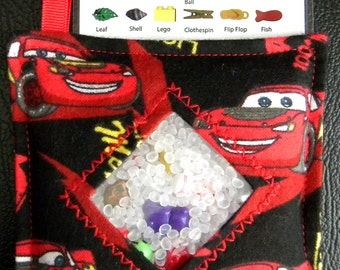 I Spy Bag - Mini with SEWN Word List and Detachable PICTURE LIST- Lightning McQueen Black