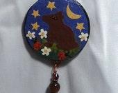 Bear Necklace, coppper, wood, tigerseye, garnet, ladybug