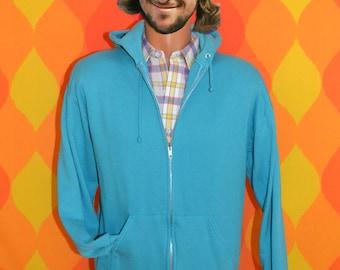 vintage 70s hoody sweatshirt jacket TEAL aqua zip hooded Medium soft 80s