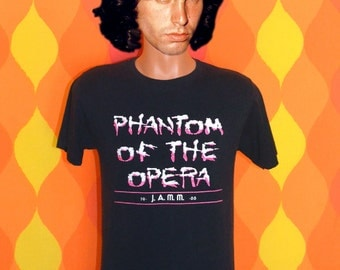 vintage 80s t-shirt PHANTOM of the opera broadway musical black tee shirt Medium neon 1988