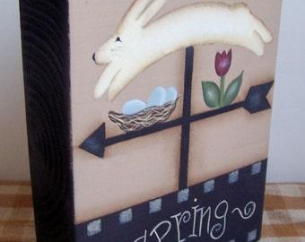 Primitive Spring Wood Shelf Sitter Block Bunny Flowers Handpainted Home Decor