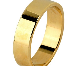 14 kt  Yellow Gold Classic Smooth Cigar Style 4mm Wide Commitment or Wedding Band Custom made Size 4 through 8