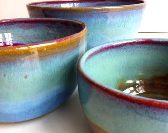 Rustic Blue Large Stoneware Nesting Bowls  - Mixing Bowls - MADE TO ORDER