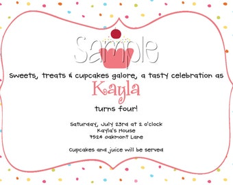 Custom Printable Cupcakes and Sprinkles Birthday Party Invitation