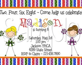 25 5x7 Cheer Birthday Party Invitations