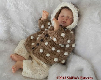 CROCHET PATTERN Baby Hooded Bobble Jacket, trousers  in 2 Sizes PDF 242 Digital Download
