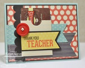 Hand Stamped Greeting Card - Thank You, Teacher