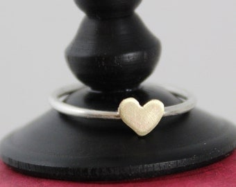 Handcut brass heart and sterling silver ring - heart of brass, skinny band, perfect for layering with simplicity ring