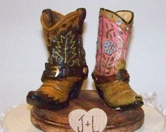 Rustic Wedding Cake Topper-His and Her Western Cowboy Boots