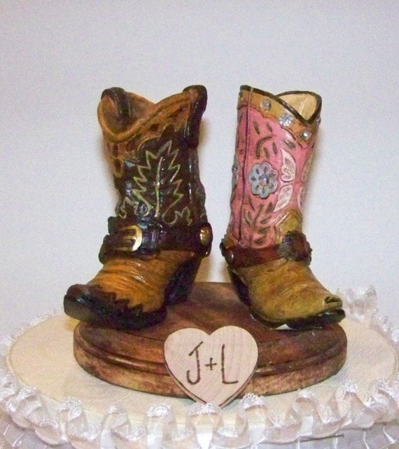 Wedding Cowboy Boots: Rustic Wedding Cake Topper-His And Her Western Cowboy Boots