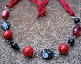 Eco-Friendly Silk Ribbon Statement Necklace - Unforgettable - Chiffon Ribbon from Recycled Saris and Vintage Beads in Bright Red and Black