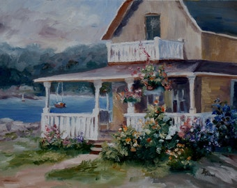 House In Martha's Vineyard Original Oil Painting 12x16""