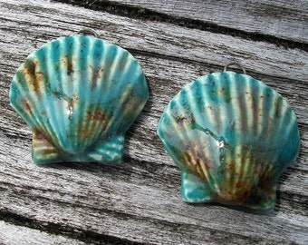 Shiny Lotus Blue Ceramic Scallop Shell Charms, Pendants or Earring Pair