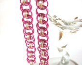 Pink and Silver Chainmaille Earrings