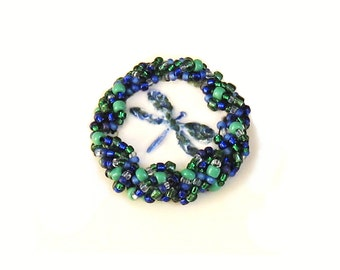 Statement Brooch Sparkling Beaded Pottery Dragonfly Blue Green White