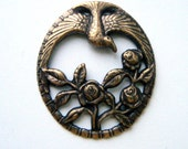 Antique Brass Soaring Bird and Roses Antique Ox Brass Stamping - Jewelry Findings (D)