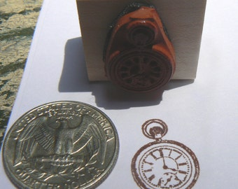 Miniature pocket watch rubber stamp WM  P24