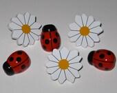 Daisy and Ladybug Push Pins for Bulletin Board