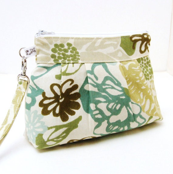 Zippered Wristlet Clutch Purse Blue and Green Pastel Flowers on Creamy White