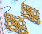 MUSTARD yellow patina victorian oval filigree dangle earrings