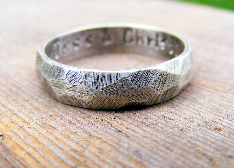 palladium sterling silver wedding ring rustic wedding bands zoom