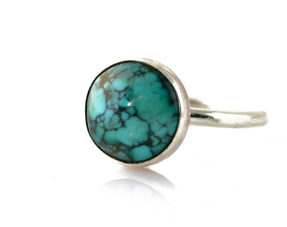Organic Turquoise Ring Sterling Silver Bezel Set Cab .925 Silver Ring Natural Turquoise December Birthstone