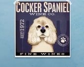 Cocker Spaniel dog Wine Company illustration giclee signed artist's print by stephen fowler