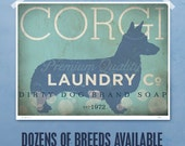 Corgi laundry company dog laundry room artwork giclee archival signed artists print by Stephen Fowler Pick A Size