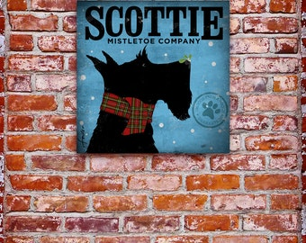 Scottie mistletoe company  illustration graphic art on canvas  by stephen fowler