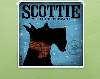 Scottie mistletoe company original graphic art illustration giclee archival signed print by stephen fowler