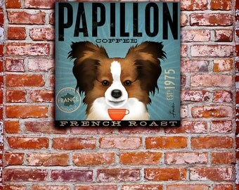 Papillon French Roast Coffee Company original graphic illustration on gallery wrapped canvas by stephen fowler