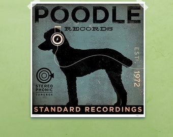Standard Poodle Records album style graphic artwork giclee archival signed artist's print by Stephen Fowler Pick A Size