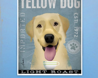 Yellow Dog Labrador Coffee Company original graphic illustration giclee archival signed artist's print by stephen fowler
