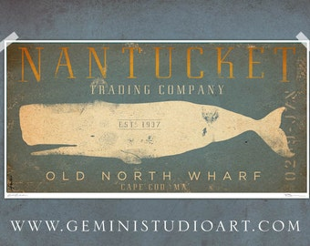 Nantucket whale trading company nautical graphic art signed artists print illustration by stephen fowler