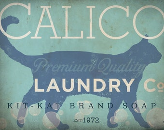 Calico Cat laundry company laundry room artwork gallery wrapped 24 x 36 canvas CUSTOM colors