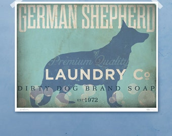 German Shepherd laundry company laundry room artwork giclee archival signed artists print by Stephen Fowler Pick A Size