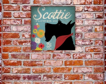 Scottie Scottish Terrier flower company graphic artwork on gallery wrapped canvas by stephen fowler